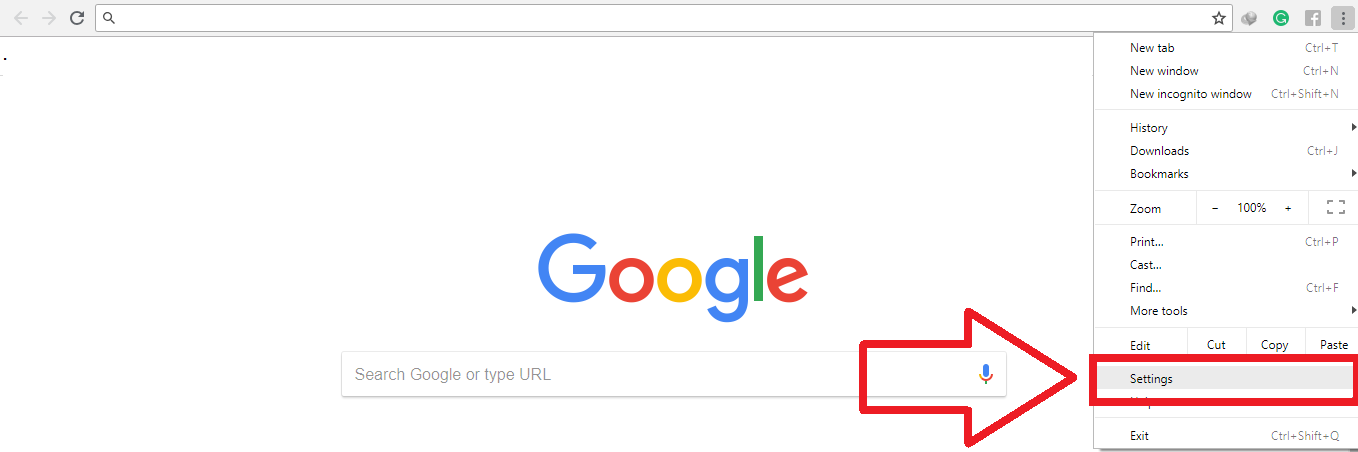 Chrome menu button setting