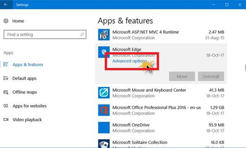 Microsoft Edge Advance Option