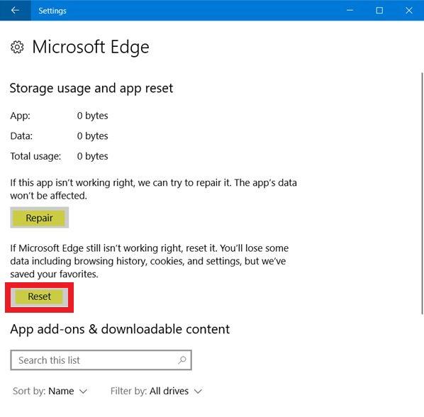 Microsoft Edge Reset button
