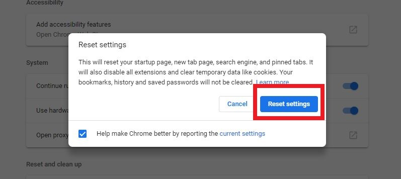 Chrome Reset button pop up